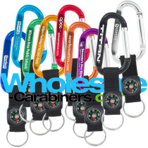 Custom Engraved Carabiner Keychains with Compass Straps