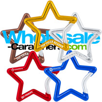 Star Shaped Carabiner Keychains - Gold Silver Bronze Blue Red