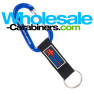 Custom Engraved Blue Carabiner With Customized PVC Strap Key Ring