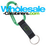 Custom Engraved Green Carabiner Keychains With PVC Strap Key Ring
