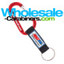 Custom Keychain - Engraved Red Carabiner With Customized PVC Strap Key Ring