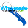 Custom Engraved BevLever Bottle Opener Keychains in Royal Blue Aluminum