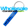 Royal Blue Key Siren Safety Whistle Keychain