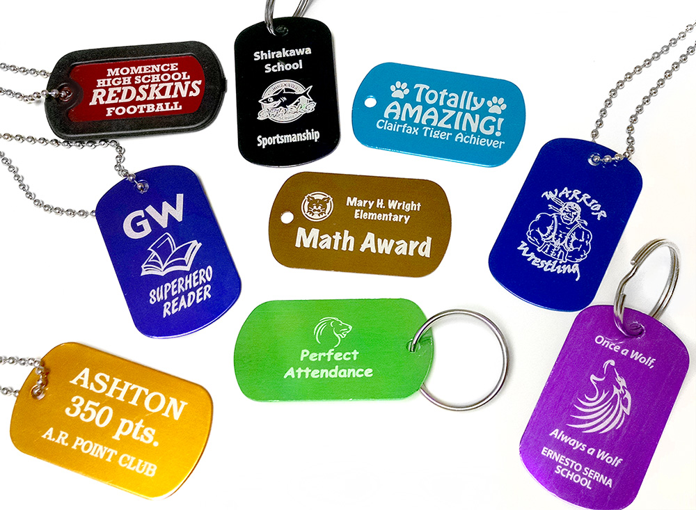 Custom engraved dog tags are a great item for school programs