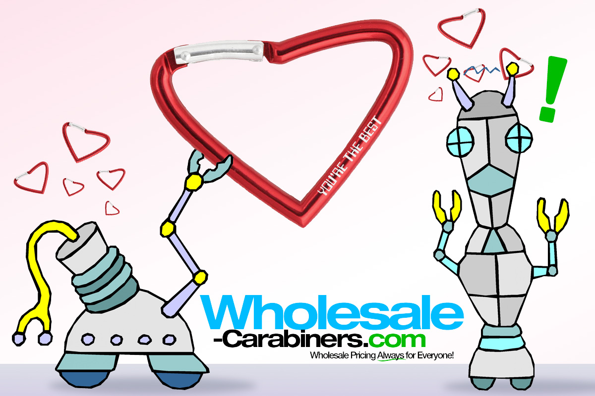 Custom engraved heart shaped carabiners send the right message