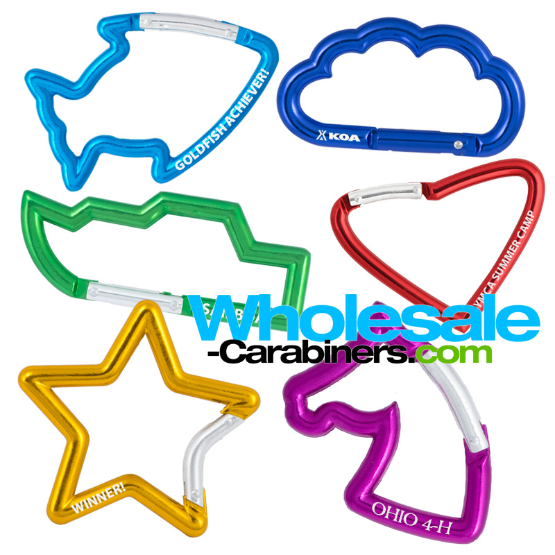 Carabiners shaped like fish, cloud, boat, heart, star, and horse