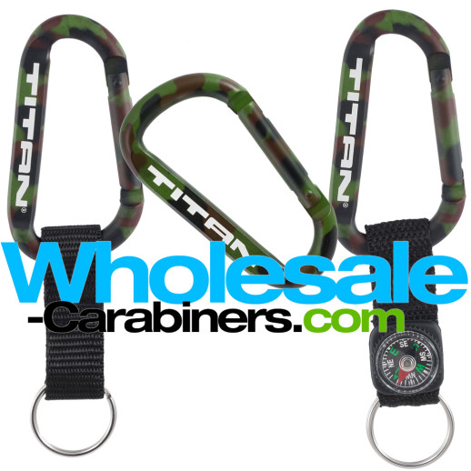 Camouflage Pattern Custom Engraved 80mm Carabiner Keychains