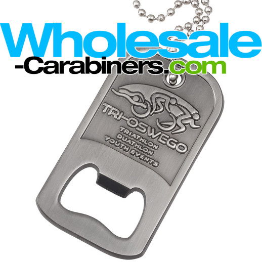 Custom Made Metal Dog Tag Bottle Openers in Antiqued Nickel