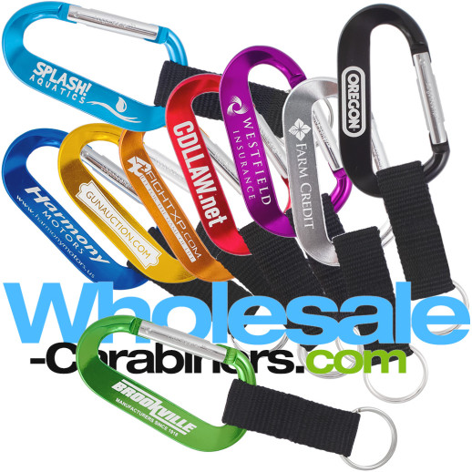 Custom Engraved LogoBeener® Carabiner Keychains with Key Straps