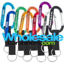 Custom Engraved Carabiner Keychains With Nylon Strap Key Ring