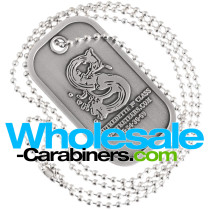 Custom Dog Tags in Brushed Metal with Antiqued Silver Plating