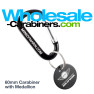 Customizable Carabiner and Medallion Keychain Combination - Black