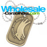 Custom Made Dog Tags in Brushed Metal with Antiqued Brass Plating