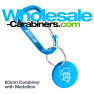 Engraved Carabiner with Medallion Keychains - Caribbean Blue