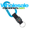 Laser Engraved Keychain Carabiners with Compass Straps - Caribbean Blue
