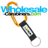Gold Carabiner Keychains, Custom Engraved With Customized PVC Strap Key Ring
