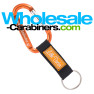 Orange Carabiner Engraved Keychains With Customized PVC Strap Key Ring