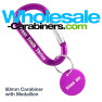 Laser Engraved Carabiner with Medallion Tag - Purple