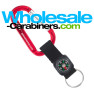 Engraved Carabiner Keychains Plus Compass Straps - Red