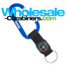 Custom Engraved Carabiner Keychains with Compass Straps - Royal Blue