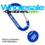 Carabiner Keychains with Matching Medallions - Royal Blue